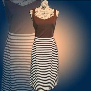 Brown & White Midi Sleeveless A-line Dress